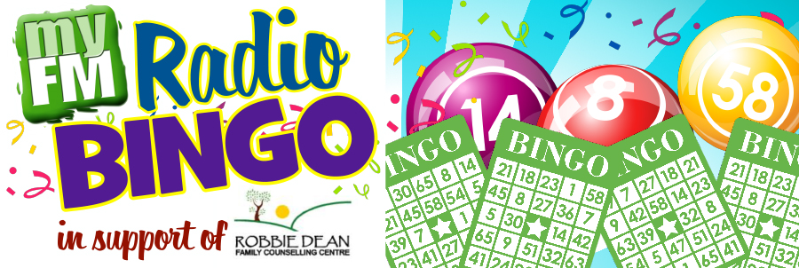 """myFM Bingo Poster. Reads: """"myFM Radio Bingo in support of Robbie Dean Family Counselling Centre""""."""